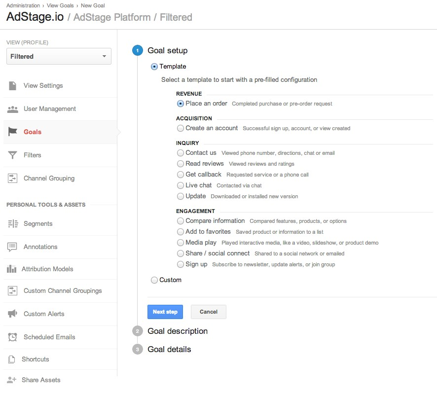 Steps to create goals in Google Analytics