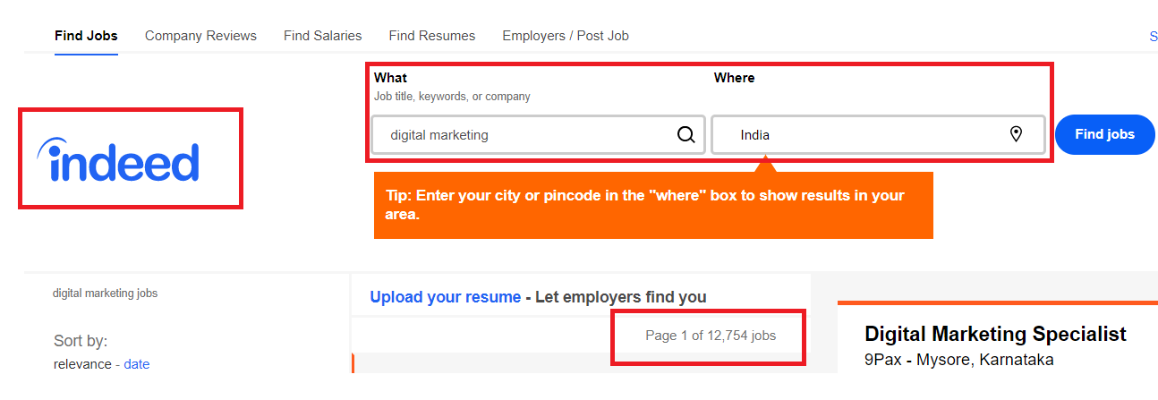 Jobs Available in Indeed for digital marketing